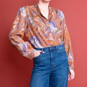 Vintage 70s watercolor puff sleeve boho blouse